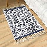 SHACOS Läufer Teppich Vintage Blau Baumwollteppiche Indira in Natur - Handwebteppich 60x90 cm für Wohnzimmer,Schlafzimmmer,Esszimmer usw