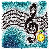 Knüpfset Knüpfkissen Selberknüpfen Knüpfpackung Kissen Für Kinder, Erwachsene Oder Anfänger, Latch Hook Kits Home Dekor/Geschenk,Blue Note O