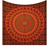 Future Handmade Indian Ethnic Gypsy Queen Mandala Tapestry Psychedelic Large/Big Wall Tapestry Hippie Tapestry Cotton Bed Sheet Bohemian Tapestry Picnic Sheet (Design Q4)