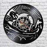 Wanduhr, Schallplatten-Design, CD-Vinyluhr, Mountainbike-Design, Heimdekoration, 3D-Uhr, Geschenk für Rennrad-Liebhaber, mit Licht