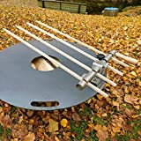 Steckerlfisch Halter für 4 Fische, Holz Spieße, passt auf Jede Grillplatte