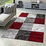 T&T Design Designer Teppich Valencia Modern mit Marmor Optik Kariert Meliert Rot Grau Weiß, Größe:80x150