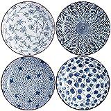 Swuut Keramik-Salatteller-Set in Blau und Weiß, 20,3 cm, flache Teller mit Blumenmuster, 4 Stück, zum Servieren von Brot, Vorspeisen, Desserts, Snacks (20,3 cm)