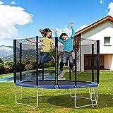 ZONSUSE Gartentrampolin, Erwachsene Outdoor Trampolin, Kindertrampolin,TÜV & GS Zertifizierung, inklusive Sicherheitsnetz, Leiter, Sprungmatte und Randabdeckung,UV-beständig (Blue + 365CM)