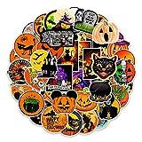 Prasacco 50 Stück Halloween-Aufkleber, Fensteraufkleber, abnehmbare Vampir- und Geist-Aufkleber, Spinnen, Fensteraufkleber, Fensteraufkleber für Halloween-Party, Fensterdekoration