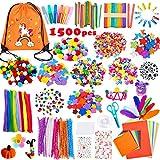 Yetech Kreativ DIY Arts Bastelbedarf für Kinder,1500+PCS Bastelset mit Aufbewahrungsrucksack,Scrapbooking Bastelset,Pfeifenreiniger, Buntpapier, Perlen, Pompon, Kinder