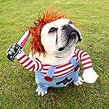 Okssud Hundekostüm Weihnachtsfeier Hundebekleidung & Zubehör Halloween Rollenspiele Verkleidungen & Kostüme für Hunde Lustige Hunde-Party-Kostüme - Mit Einer Perücke, S