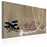 murando Akustikbild Banksy Love Plane 120x80 cm Bilder Hochleistungsschallabsorber Schallschutz Leinwand Akustikdämmung 1 TLG Wandbild Raumakustik Schalldämmung Banksy Mural Graffiti i-C-0024-b-a