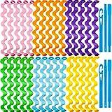 Willbond Spiral Haar Lockenwickler Styling Kit mit hitzefreien Rollen,2 Stück Styling Haken für extra langes Haar,30 Stück 45 cm