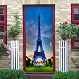 QHOXAI Türtapete Selbstklebend Türposter Fototapete Poster DIY Türbild 3D Türaufkleber Selbstklebend Blauer Eiffelturm Abnehmbar Kinderzimmer Schlafzimmer Wohnzimmer Wohnkultur 85X205Cm
