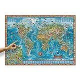 ORBIT GLOBES & MAPS Kinder-Weltkarte Amazing World mit Tieren und Flaggen im Poster-Format XXL 138 x 98 cm mit aufschlussreicher Legende, Deko-Landkarte für Kinderzimmer