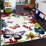 Paco Home Teppich Kinderzimmer Schmetterling Bunt Kinderteppich Butterfly Creme Mehrfarbig, Grösse:120x170