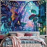 Psychedelische Trippy Wandteppich,Boho Hippie Wandteppich,Fantasy Wald Wandbehang Wandteppich Pilzwandteppich für Schlafzimmer Wohnzimmer, magischer Landteppich(78'L*58'W)