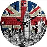 Out of the blue Glas Uhr London Motive Durchmesser 38 cm, Wanduhr im Vintage Look mit Big Ben und Union Jack, ausgefallenes Geschenk für England und Retro Fans
