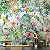 TV-Tapete Nordische tropische Pflanzen Tapete Dschungel Papagei Wandbild Wohnzimmer TV-Tapete nahtlose Wandverkleidung 3D-Wandbild-250X175