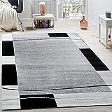 Paco Home Designer Teppich Wohnzimmer Teppich Bordüre in Grau Schwarz Creme Preishammer, Grösse:60x100