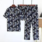 Gbrand Neue Damen Frühjahrs- und Sommerpyjamas Dreiteilige Kurzarm + Shorts + Hose Weiche und Bequeme Homewear-XL_62.5-72.5Kg