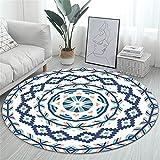 RAILONCH Mandala Runde Teppich, Teppiche Bohemian Style, Baumwollteppich Washable Teppich für Wohnzimmer Schlafzimmer (Stil 3,120cm)
