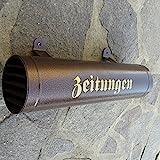 Naturholz-Schreinermeister Zeitungsrolle aus Metall Farbe: Kupfer/Bronce/Braun Hammerschlagoptik mit Verschlussgitter Einwurf: Seite wechselbar