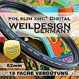 Polfilter POL 62 mm Circular Slim XMC Digital Weil Design Germany SYOOP * Kräftigere Farben * mit Frontgewinde, 16 Fach XMC vergütet * inkl. Filterbox * zirkulare (POL Filter 62mm)