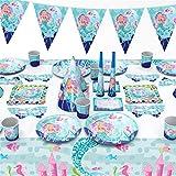 Tonsooze Meerjungfrau Party Geschirr Set - 96 Stück Gebutstag Party Set magische Meerjungfrau Geburtstag Geschirr Kit Abendessen Teller für Geburtstagsfeier, Hochzeiten, Jubiläen, 6 Gäste