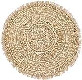 Hoff Interieur Teppich rund mit goldenem Print - 90 cm geflochtener Jute Teppich orientalischer Wohnzimmer Tepp