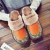 Hausschuhe für Herren und Damen, Winter, warm, Plüsch, flache Schuhe, für den Innenbereich, zum Nähen, bequem, eingefasst, dicke Absätze, Größe 6