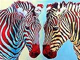 DIY Malen Nach Zahlen Zweifarbiges Zebra Vorgedruckt Leinwand Ölgemälde Geschenk für Erwachsene Kinder Kits Home Haus Dekor 40 * 50 cm Ohne Rahmen