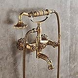 SADASD Im europäischen Stil Badezimmer Waschbecken Wasserhahn Kupfer antik Einfache Dusche Badewanne Armatur Wasserhahn Retro Wand Handheld heiße und Kalte Mischbatterie