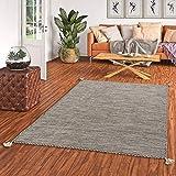 Natur Teppich Bauwolle Kelim Prico Ivory Beige in 8 Größ