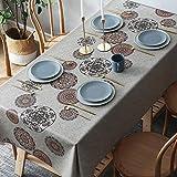 NOBCE Abwischen Tischdecke PVC Tischdecke Dekorative Tischdecke Wasserfeste Tischdecke Mit Retro Blumendruck Für Picknick Hochzeiten Geburtstagsfeiern Braun-9 100 * 160cm