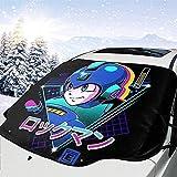 MOLLUDY Frontscheibenabdeckung Windschutzscheibe Auto Frontscheibe Abdeckung Retro 80er Mega Man Blue Bomber Magnetisch Frostabdeckung Sonnenschutz Schneeschutz