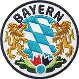 2 x Bayern Abzeichen gestickt 65 mm / Bavaria München bayerisch Land Alpen Berge Outdoor Wandern Heimat Reisen / Aufnäher Aufbügler Flicken Sticker Bügelbild Patch Wappen Emplem zum Aufbüg