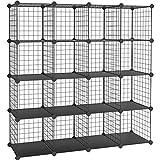 SONGMICS Steckregal, 16 Würfel Aufbewahrungssystem aus Metalldraht, DIY Schrank und modulares Gitterregal, mit Drahtrahmen, schwarz LPI44H