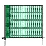 VOSS.farming Gartennetz Universal Begrenzungszaun Classic 20 m Premium, 80 cm, 12 Pfähle, dunkelgrün, B