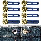 Bequeme Hosenbunderweiterung für Damen und Herren, geeignet für Jeans, Hosen, Anzughosen, Röcke, Hosenerweiterung bis 4,2 cm, 8 Pack, 17 mm Jeansknöpfe mit Silikonband, Lieblingshosen tragen können