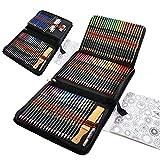 Professionelle Aquarell Buntstifte Set, 96 Stück Aquarellstifte Skizzieren Bleistifte Zeichnen Zubehöre, Ideales Set für Anfänger, Künstler, Kreatives Malen und Aquarellmalerei
