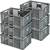 6x Eurobehälter durchbrochen/Stapelkorb, Industriequalität, lebensmittelecht, 600x400x240 mm, g