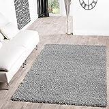 T&T Design Shaggy Teppich Hochflor Langflor Teppiche Wohnzimmer Preishammer versch. Farben, Farbe:grau, Größe:160x220