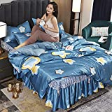 Exlcellexngce Bettbezug 200x220,Sommer EIS Seidenmatte, Prinzessin Windbett Rock Bettbezug, waschbar seidig weiche, komfortable und atmungsaktive Bettwäsche-Ö_1,5 mbett (4 stücke)