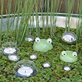 Gartenzaubereien Schwimmfrösche 2er Set mit Teelichtschalen und silbernen Schwimmkugeln