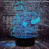 Naruto Gaara Form Lampe Japanische Comic Manga Cartoon Anime Sabaku No Gaara 3D Optisches LED Nachtlicht Sensor Touch 7 Farbwechsel Dekor Raumstimmung Tischlampe für Kinderzimmer Fans Urlaub