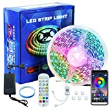 LED Strip 5m, Bluetooth RGB LED Streifen, Farbwechsel LED Lichterkette mit Steuerbar via App, 16 Mio. Farben, Fernbedienung, Sync mit Musik, LED Band für Zuhause, Schlafzimmer, Küche, Party