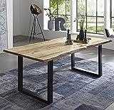 SAM Esszimmertisch 120x80 cm Quintus, echte Baumkante, naturfarben, massiver Esstisch aus Akazienholz, Metallbeine schwarz, Baumk