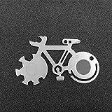 COTTILE EDC Multifunktionswerkzeug Fahrrad Form Mountainbike Werkzeugkarte Outdoor Multi-Tool Überlebensmesser Karte Mit Skala Dosenöffner Schraubendreher Schneiden