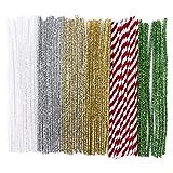 60 Pfeifenputzer/Pfeifenreiniger, Metallic, Plüsch & Glitzer, 30cm lang, Farben: weiß irisierend, silber, hellgold, gold, rot, grün   Basteln für Weihnachten, Zuckerstangen-Optik