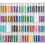 FANDAMEI 32 Farben Glitzerpulver Set, Glitzer Pulver Glitter Bunte Glitzerpuder zum Basteln für Dekoration, Karten, Papier, Nagelk