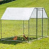 VEVOR Hühnerstall Freilaufgehege, 2,9 x 1,98 x 1,82m Verzinkt Kleintierstall Hühnergehege Freilauf Groß Freilaufgehege Hühner, Sonnendach Außengehege Voliere Hühnerstall Hasenstall Geflügelstall