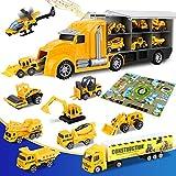 lenbest 12 in 1 Baustelle Baufahrzeug Autos, Bagger Spielzeug mit Musik, Baustellen Fahrzeuge LKW mit Spielmatte, Mini Autos Geschenke für Jungen, Mädchen,Kinder