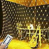 LED Lichterkette Netz, 3 x 2 m Lichternetz Weihnachten, 200 LEDs Warmweiß mit Fernbedienung und Timer Lichtervorhang Netz für Außen und Innen Deko - ELECOND